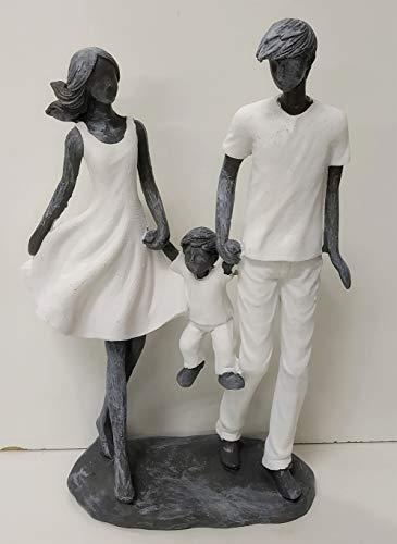Jolipa Statuina Decorativa Statua Moderna Uomo Donna Bambino Famiglia Nascita Resina Grigio Bianco