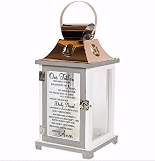 Our Father Lord's Prayer Flameless Candles Copper Lantern