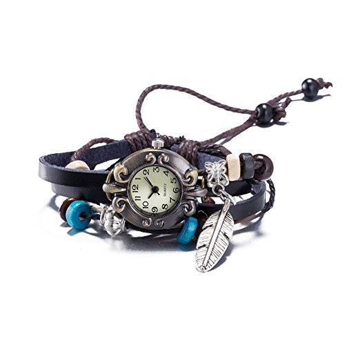 iLove EU Herren Damen Armbanduhr Retro Silber Feder Flügel Anhänger Verstellbare Größe Leder Echtleder Armband Holzperlen Analog Quarz Uhr Schwarz