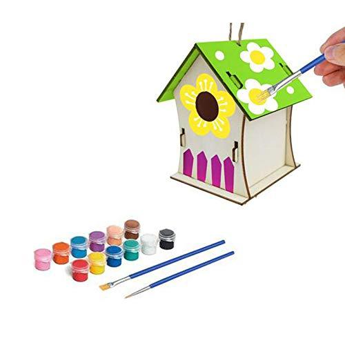 Decoración de madera para el hogar, pintadas a mano, graffiti 30 ml, casa de pájaros con agujero para pájaros, caja de decoración (MultiE)