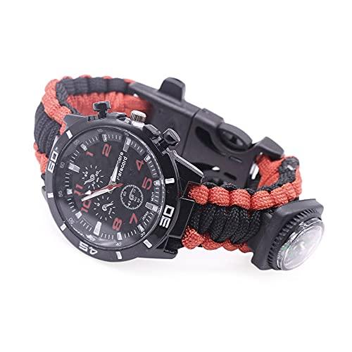 Bruce & Shark Reloj de supervivencia 5 en 1, cuerda trenzada de paracaídas con brújula, silbato y función de encendido, color rojo y negro
