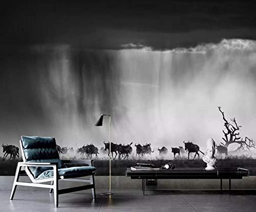 Fotobehang - Grassland Dieren Bison Herd Landschap Non-Woven Muurschildering voor Premium Art Print Poster Beeld Ontwerp Moderne Slaapkamer Woonkamer Woonkamer Huisdecoratie 150x105 cm/59x41.33 inch - 3 Strips