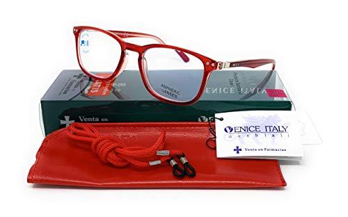 New Model 2021 Occhiali da Lettura Presbiopia UNISEX Anti Luce Blu Uomo e Donna Computer Glasses Professional Venice Visione Chiara - Moda Comodo - diversi colori (Rossa, 3.50)