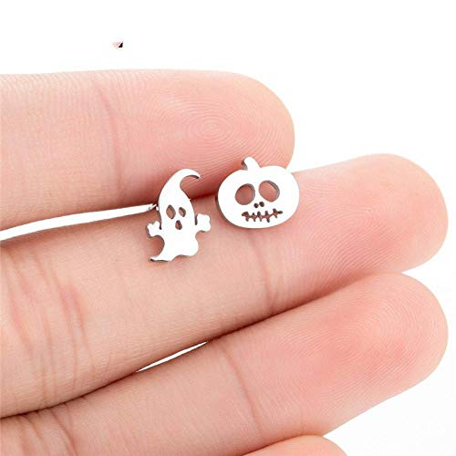 HUYV Stud Earrings For Woman,Fashion Asymmetry Pumpkin Ghost Earring Stainless Steel Stud Earrings For Summer Accessories Birthday Jewelry Gift Men Girls