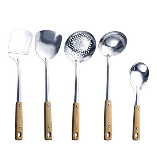 Hemoton 5 Pcs en Acier Inoxydable Ustensile De Cuisine Ensemble Cuisson Spatule Cuillère Passoire Louche Ustensiles De Cuisine Gadgets Batterie De Cuisine Ensemble