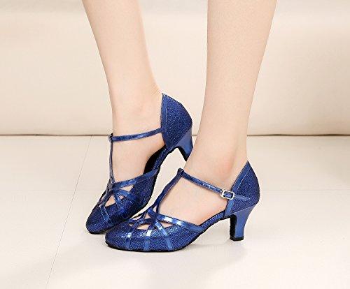 Minitoo qj6133Damen Geschlossen Zehen High Heel PU Leder Glitzer Salsa Tango Ballsaal Latin t-strap Dance Schuhe, Blau Blue-6cm Heel,38 EU/5.5 UK - 6