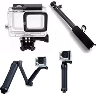 Pacote com acessórios para Gopro Hero 5 Hero 6 Hero 7 Black White Silver Caixa estanque para mergulho tripé 3 way articulado pau de selfie a prova dagua (3 itens)