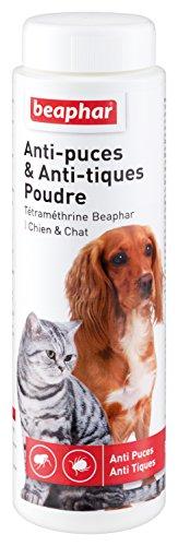 BEAPHAR – Poudre anti-puces et anti-tiques pour chien et chat – À base de Tétraméthrine – Élimine les puces et les tiques – Très facile et pratique d'utilisation – Sans rinçage – 150g