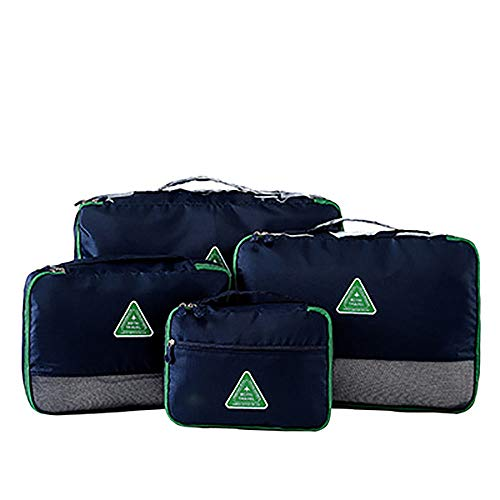 KYEEY Travel Luggage Storage Bag Set 4Pcs Set Large Packing Cubes For Travel Luggage Accessories Organizers Bags 6 Color Options Compression Pouches (Color : Deep Blue)