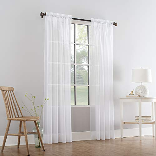 Comfy Deal 2 Pieces Beautiful Elegance Fully Stitched Window Sheer Voile Curtain Panel (White)