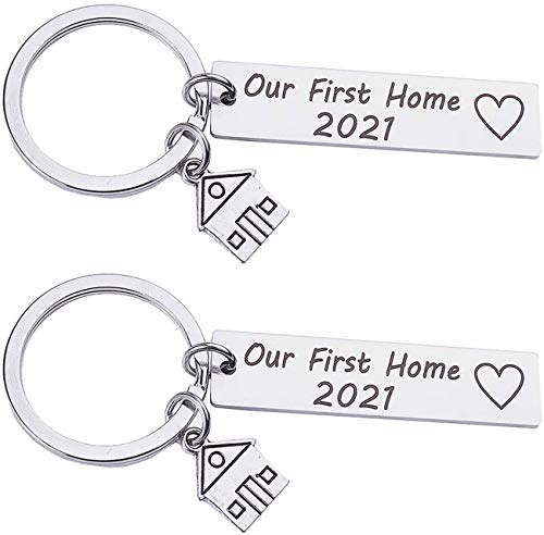 Yinitoo Our First Home 2021 Keychain Stainless Steel Couples Keychains Matching Keyring New Home Housewarming Gifts Key Rings Bag Hanging Ornaments 2pcs