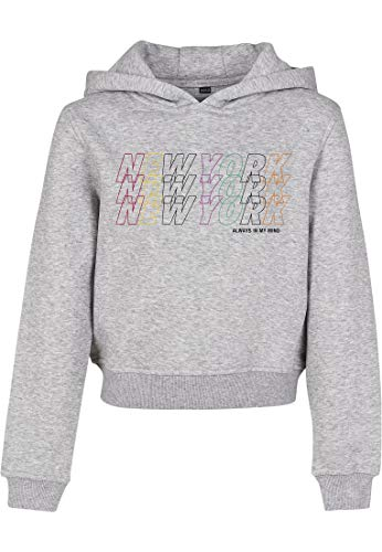 Mister Tee Kids New York Cropped Hoody Sweat-Shirt À Capuche, Gris (Heather Grey 00431), 152 (Taille Fabricant: 146/152) Fille
