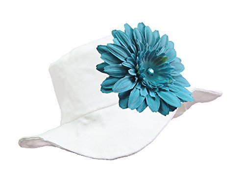 Jamie Rae Hats - White Sun Hat with Teal Daisy, Size: 4-6Y