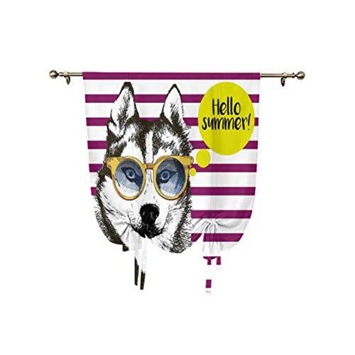 Alaskan Malamute - Cortina romana, rayas moradas con boceto Husky, gafas hipster amarillas con cita Hello Summer con globos decorativos, aislantes, 76 x 137 cm, para ventanas pequeñas/cocina