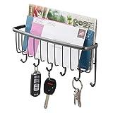 mDesign Organizador de cartas con cesta y llavero para recibidor o cocina –...