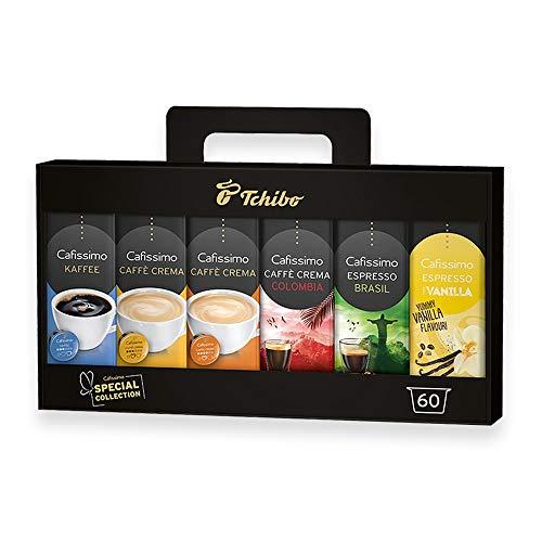 Tchibo Cafissimo Kapsel- Vielfalts-Pack Summer Collection Probierbox verschiedene Sorten Kaffee, Caffè Crema und Espresso, 60 Stück (6 x 10 Kapseln) in einer praktischen Geschenkbox