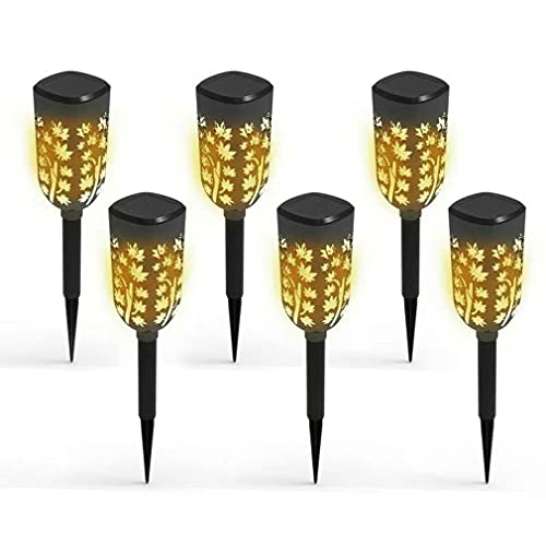 QiKun-Home 6 uds LED Luces solares Blancas cálidas luz Decorativa de Hoja de Arce Luces solares Impermeables para jardín para Pasarela Paisaje