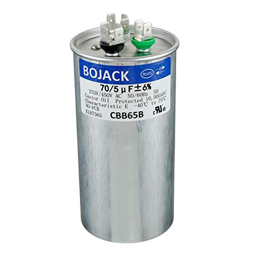BOJACK 70+5uF 70/5MFD ±5% 370V/440V CBB65 Dual Run Circular Start Capacitor for AC Motor Run or Fan Start or Condenser Straight Cool or Heat Pump air Conditioner