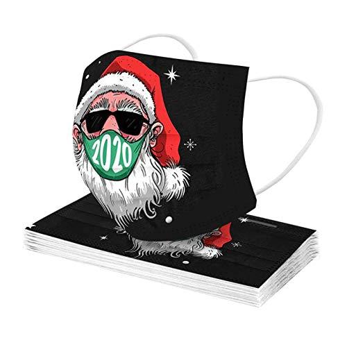 Erwachsene Einweg Mundschutz Multifunktionstuch, 3-lagig Schwarzer Cartoon Santa und Elch Gedruckt Maske,Weiche Staubdicht Atmungsaktive Vlies Mund-Nasenschutz Bandana Halstuch
