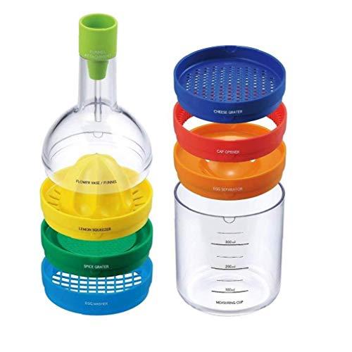 Hotaden 8 in 1 Multifunktionsküchen Werkzeug-Flaschen-Mehrzweck Küche kochend Gadget Praktischen Küchenzubehör Hersteller-Küche-Werkzeug-Flaschen