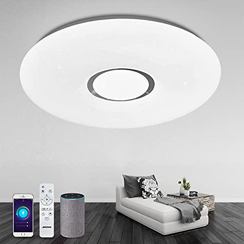 Alexa Deckenlampe, 40cm Smart Wifi Deckenleuchte JDONG Dimmbar(RGB + Kalt bis Warmweiß 3000-6500K), Steuerbar via App, Kompatibel mit Alexa , kein Hub Erforderlich JDONG
