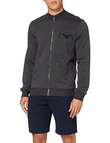 Emporio Armani Underwear Herren Loungewear Sweatshirt, Grigio Melange Nero-Black Melange Grey, L