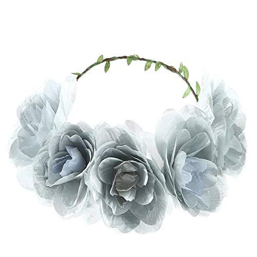 ZYJ Moda sólido Redondo Tocado de Novia Guirnalda de Flores Rosas Corona elástica Diadema Boda Diadema Coronas y guirnaldas,2