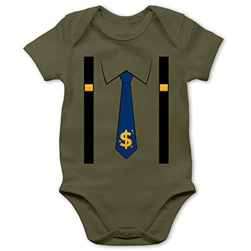 Shirtracer Karneval und Fasching Baby - Anzug Kostüm mit Dollarzeichen Krawatte - 6/12 Monate - Olivgrün - Verkleidung Kostüm - BZ10 - Baby Body Kurzarm für Jungen und Mädchen