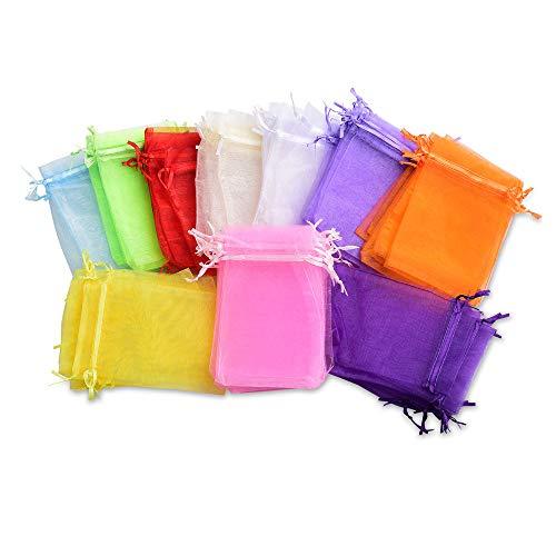 MUXItrade 100 Pièces 10 Couleurs Pochette Poche Sac Case Sachet Multicolore en Organza pour Cadeau, Mariage et Bijou 10 x 15 cm