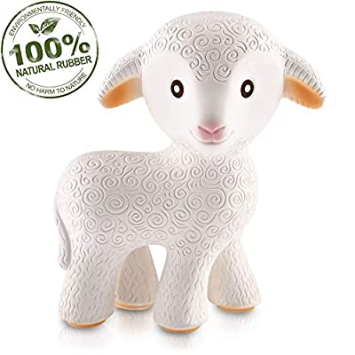 caaocho Pure Natural Rubber Baby Teether Toy - Mia The Lamb - Without Holes BPA Free Teething Toy, All Natural, Textured for Sensory Play, Sealed Hole, Hole Free Natural Teether, Reaches Molars