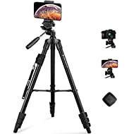 """Fotopro 59"""" Camera Tripod, Aluminum Phone Tripod with Bluetooth Remote, GoPro Mount & Smartphone Mount, Travel Tripod for iPhone X, Portable Camera Stand for Canon, Nikon, Samsung, Olympus"""