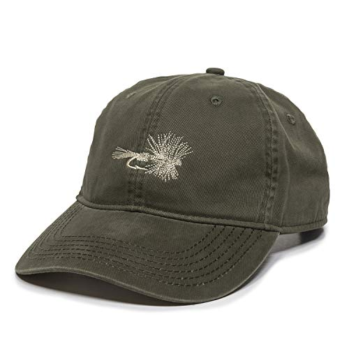 Dry Fly Fish Lure Dad Hat - Adjustable Polo Style Baseball Cap for Men & Women (Olive)