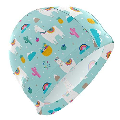 Gorro de natación con diseño de animales de dibujos animados, divertido, arcoíris, manzana, desierto, cactus, gorro de natación, gorro impermeable para ducha, para adultos, hombres, mujeres, jóvenes y niños