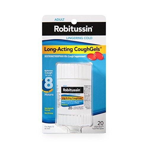 Robitussin Adult Long-Acting CoughGels (20 Count), 8-Hour Non-Drowsy Cough Suppressant, Liqui-Gels Capsules