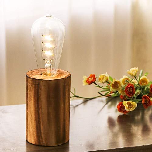 YiShine Table Lamp Wood Night Light Decorative Table Light (Edison Bulb Included) Home Decor Light for Room Office Cafe Lighting Decor Bright Light Vintage Festival Decoration