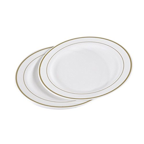 Viphome 6ASJ043OR Lot de 6 Assiettes Plastiques Or 23 cm