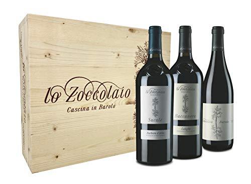 Lo Zoccolaio Cassetta Legno - Vino Rosso - Barbera D\'Alba+Langhe Rosso+Barolo 3 Bottiglie x 0.75 litri
