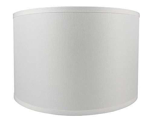 Urbanest Classic Drum Smooth Linen Lampshade, 16-inch by 16-inch by 10-inch, Off White