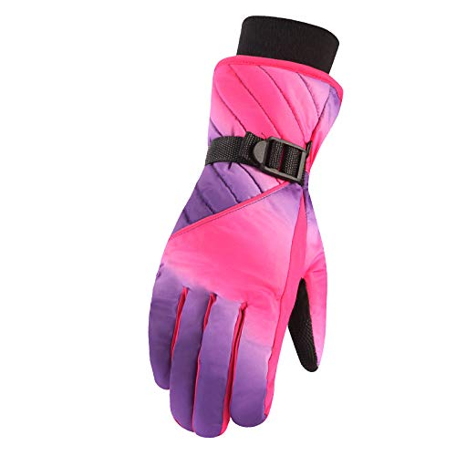 Damen-Handschuhe, warm, wasserdicht, winddicht, kalt, Sport, Outdoor, Ski, Baumwolle, dick im Winter Gr. Einheitsgröße, rot