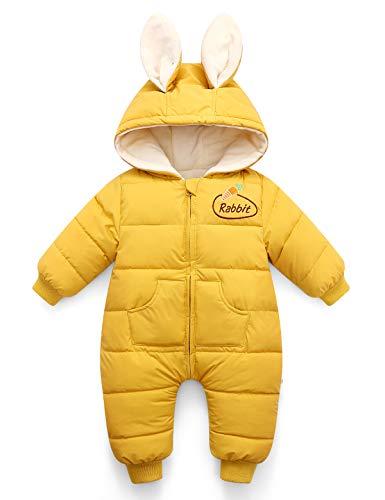 Happy Cherry Baby Kleinkind Overall Schneeanzug Cartoon Kapuzen Strampler Footie Schlafanzug Gr. 12-18 Monate, gelb-buuny