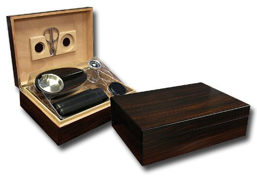 Prestige Import Group Davenport Ebony Wood Cigar Humidor Set - Includes Hygrometer, Humidifier, Stainless Steel Scissors, Travel Case, and Ashtray