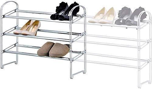 A-Generic Rack de Zapatos Extensible de Carga Pesada 3 Pisos de Acero, construcción rápida, Longitud de 64.5 a 118 cm, Robusta y Elegante
