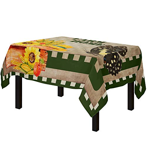 Yun Nist Tablecloths for Rectangle Table Farm Crop Corn Sunflower and Butterfly, Cotton Linen Fabric Table Cover Tabletop Cloth for Dining Room Kitchen, Vintage Plaid Back