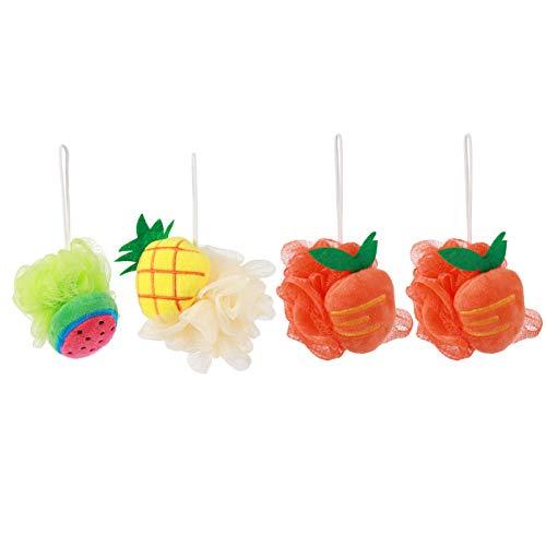 Minkissy 4 Piezas de Esponja de Baño para Niños Esponja de Esponja para Ducha Bolas de Ducha con Forma de Fruta para Exfoliar (Estilo Aleatorio)