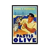 BGYU Pastis Olive Art 2 Leinwand-Poster, Wandkunst, Deko,