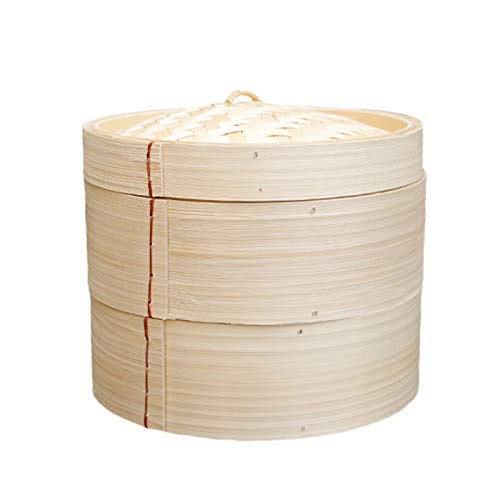 Cesta de vapor de bambú, cestas de 2 niveles con tapa, vapores de comida china, olla de cocina para cocinar albóndigas, verduras, arroz o carne