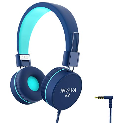 Nivava K9 Kids Headphones for Children Boys Girls Teens Wired 85dB Volume Limited Foldable Lightweight Stereo On Ear Headset for Cellphones Computer MP3/4 Kindle Airplane School(Blue Mint Green)