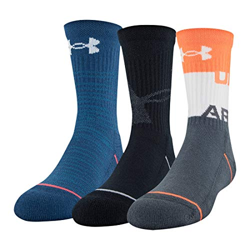 Under Armour Youth Phenom Crew Socks, 3-Pairs, Orange Glitch Assorted, Shoe Size: Youth 13.5K-4Y