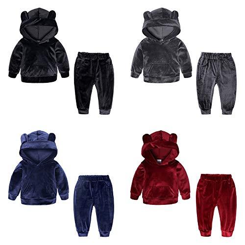 Peuter Baby Meisjes Jongens Kids Sports Kleding Velvet effen kleur met lange mouwen met capuchon trainingspak Tops Pants Outfits for 1-8 jaar oud (Color : Blue, Size : 90)