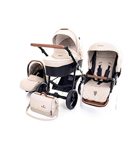 Venicci Gusto 3-in-1 Travel System - Cream - with Carrycot + Car Seat + Changing Bag + Footmuff + Raincover + Mosquito Net + 5-Point Harness and UV 50+ Fabric + Car Seat Adapters + Cup Holder